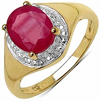 2.51CTW Genuine Glass Filled Ruby 14K Yellow Gold Plated .92
