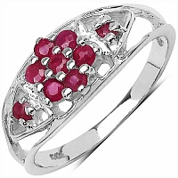 0.45CTW Genuine Ruby 9-Stone .925 Sterling Silver Ring