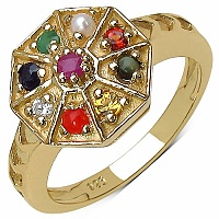 Shraddha 0.45CTW Navratna 14K Yellow Gold Plated .925 Sterling