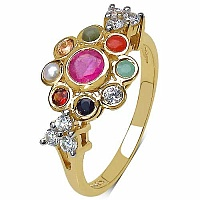 1.05CTW Navratna 14K Yellow Gold Plated .925 Sterling Silver