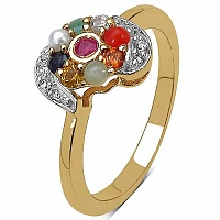 0.54CTW Navratna 14K Yellow Gold Plated .925 Sterling Silver