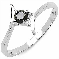 0.25CTW Genuine Black Diamond .925 Sterling Silver Ring
