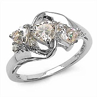 1.58CTW Champagne & White Cubic Zircon.925 Sterling Silver R