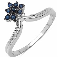 0.20CTW Genuine Blue Sapphire .925 Sterling Silver Ring
