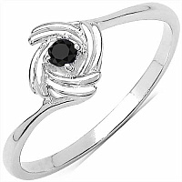0.04CTW Genuine Black Diamond .925 Sterling Silver Ring