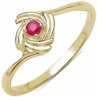 0.05CTW Genuine Ruby .925 Sterling Silver 14K Yellow Gold Pl