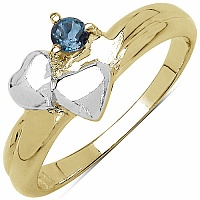 0.15CTW Genuine London Blue Topaz .925 Sterling Silver Two Tone