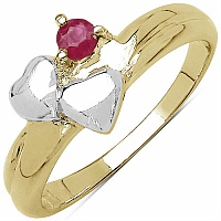 0.15CTW Genuine Ruby .925 Sterling Silver Two Tone Gold Plated