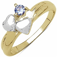 0.15CTW Genuine Tanzanite .925 Sterling Silver Two Tone Gold Pl