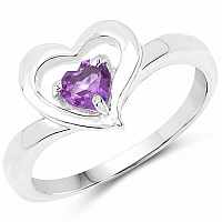 0.35CTW Genuine Amethyst .925 Sterling Silver Heart Shape Ring