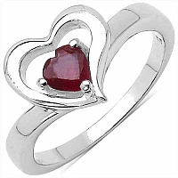 0.45CTW Genuine Glass Filled Ruby .925 Sterling Silver Ring