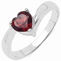 0.80CTW Genuine Garnet .925 Sterling Silver Ring