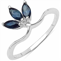0.60CTW Genuine Blue Sapphire .925 Sterling Silver Ring