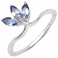0.40CTW Genuine Tanzanite .925 Sterling Silver Ring