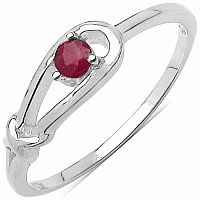 0.10CTW Genuine Ruby .925 Sterling Silver Ring