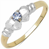 0.05CTW Genuine Tanzanite .925 Sterling Silver 14K Yellow Gold