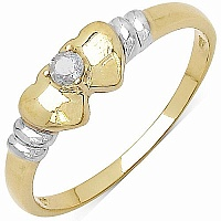 0.06CTW Geniune White Diamond 14K Yellow Gold Plated .925 Sterl