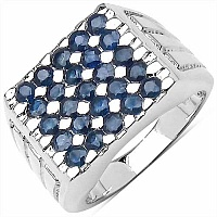 2.30CTW Genuine Blue Sapphire .925 Sterling Silver Ring