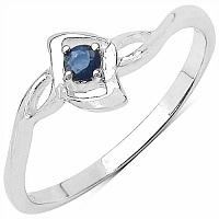 0.10CTW Genuine Blue Sapphire .925 Sterling Silver Ring