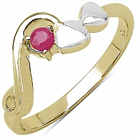 0.10CTW Genuine Ruby .925 Sterling Silver 14K Yellow Gold Pl