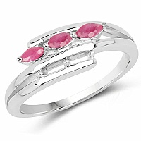 0.40CTW Genuine Ruby .925 Sterling Silver Ring