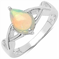 0.70CTW Genuine Ethiopian Opal .925 Sterling Silver Ring