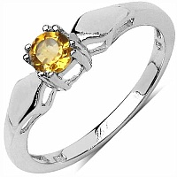 0.25CTW Genuine Citrine Cb Round .925 Sterling Silver Ring