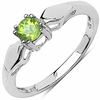 0.25CTW Genuine Peridot Cb Round .925 Sterling Silver Ring