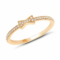 0.13CTW White Diamond 14K Yellow Gold Ring