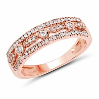 0.29CTW White Diamond 14K Rose Gold Ring