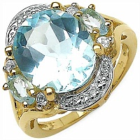 6.12CTW Blue Topaz & White Topaz .925 Sterling Gold Plated S