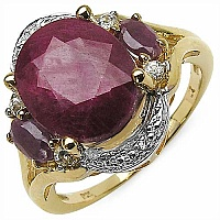 7.06CTW Dyed Ruby & White Topaz 14K Yellow Gold Plated .925