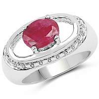2.57CTW Dyed Ruby .925 Sterling Silver Ring