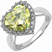 6.68CTW Peridot & White Cubic Zircon .925 Sterling Silver Ring