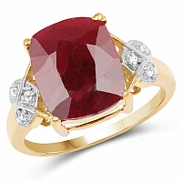 6.91CTW Dyed Ruby & White Topaz 14K Yellow Gold Plated .925 Ste