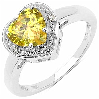 2.27CTW Yellow & White Cubic Zircon .925 Sterling Silver Ring