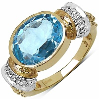 5.25CTW Genuine Blue Topaz 14K Yellow Gold Plated Brass Ring
