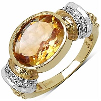 4.25CTW Genuine Citrine 14K Yellow Gold Plated Brass Ring