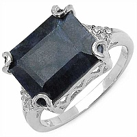 7.90CTW Dyed Blue Sapphire & White Topaz .925 Sterling Silve