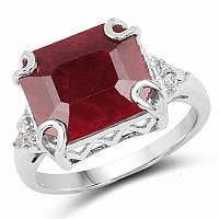 7.19CTW Dyed Ruby & White Topaz .925 Sterling Silver Ring