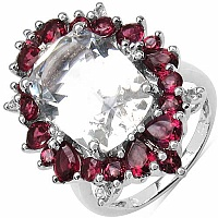 9.22CTW Genuine Crystal Quartz, Rhodolite & White Topaz .925