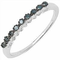 0.10CTW Genuine Blue Diamond .925 Sterling Silver Ring