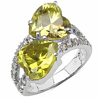 6.88CTW Peridot & White Cubic Zircon .925 Sterling Silver Ring