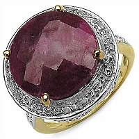 12.08CTW Dyed Ruby & White Topaz 14K Yellow Gold Plated .925