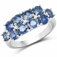 3.50CTW Genuine Blue Sapphire .925 Sterling Silver Ring
