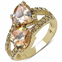 6.04CTW Champagne Cubic Zirconia 14K Yellow Gold Plated Brass H