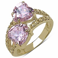 6.04CTW Pink Cubic Zirconia 14K Yellow Gold Plated Brass Heart