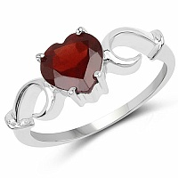 2.00CTW Genuine Garnet .925 Sterling Silver Heart Shape Ring