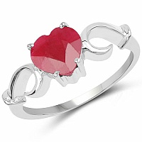 3.31CTW Genuine Ruby .925 Sterling Silver Heart Shape Ring