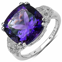 5.71CTW Genuine Amethyst & White Diamond .925 Sterling Silve